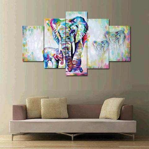 5 Panel Unframed Hidup Gajah Set Lukisan Kanvas, Definisi Tinggi Karya Seni Giclee, modern Hiasan Dinding Binatang Dekorasi Satwa Liar Tema Poster untuk Ruang Keluarga Kamar Tidur Rumah Kantor Hotel 20x35cmx2pcs, 20x45cmx2pcs, 20x55cmx1pc-Intl 3