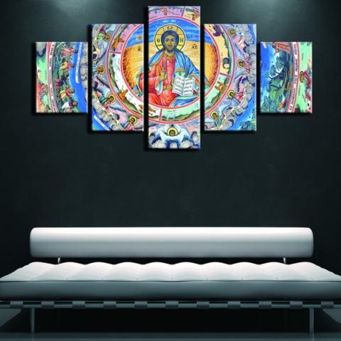 5 Pieces Yesus Agama Kristen Lukisan Minyak Di Kanvas Tanpa Bingkai Modular Seni Dinding Gambar untuk Gereja Dekorasi Rumah Poster Seni Hadiah Natal-Intl 1