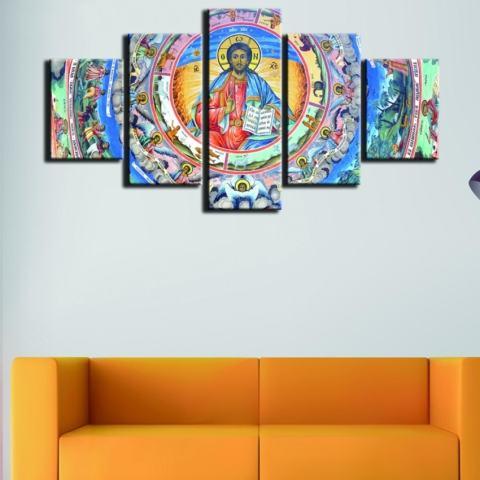 5 Pieces Yesus Agama Kristen Lukisan Minyak Di Kanvas Tanpa Bingkai Modular Seni Dinding Gambar untuk Gereja Dekorasi Rumah Poster Seni Hadiah Natal-Intl 2