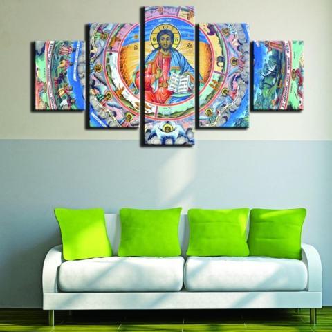 5 Pieces Yesus Agama Kristen Lukisan Minyak Di Kanvas Tanpa Bingkai Modular Seni Dinding Gambar untuk Gereja Dekorasi Rumah Poster Seni Hadiah Natal-Intl 3