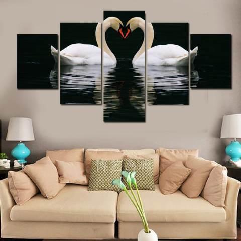Unframed 5 Pieces Wall Art Canvas Lukisan Minyak Bekas Dekoratif Dua Bebek Gambar untuk Ruang Tamu 1