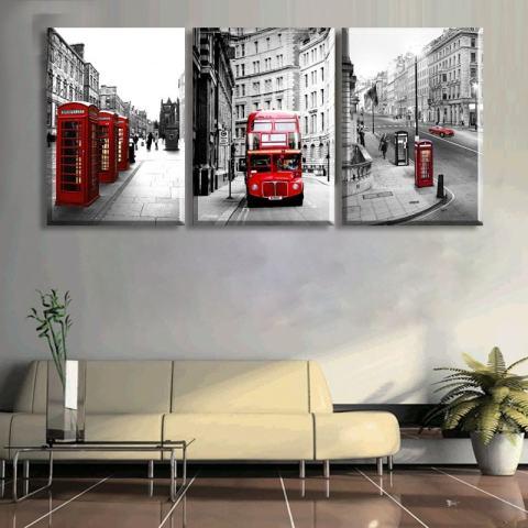 50*70CM3 Potongan Jual Lukisan Dinding Modern Lanskap London Rumah Hiasan Gambar Seni Lukisan Pada Kanvas Cetakan 3