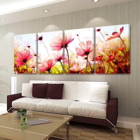 50*70 CMNew Fashion 4 Pcs/sets Segar Bunga Lukisan Dinding DIY Frameless Art Gambar Saja Dekorasi Di Dinding, HD Kanvas Dicetak 2