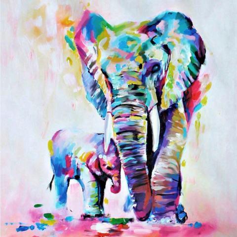 60*60 Cm HD Dicetak Frameless Watercolor Elephant Lukisan Kanvas Dinding Seni Gambar Dekorasi untuk Rumah Living Room Kamar Tidur -Intl 1