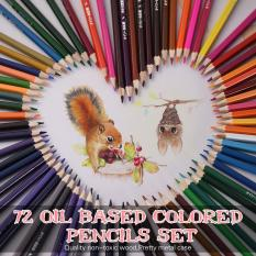 72 Color Premium Pre-Sharpened Oil Based Colored Pencils Set with Metal Case for Kids Adults Artist Art Drawing Sketching Writing Artwork Coloring Book - intl