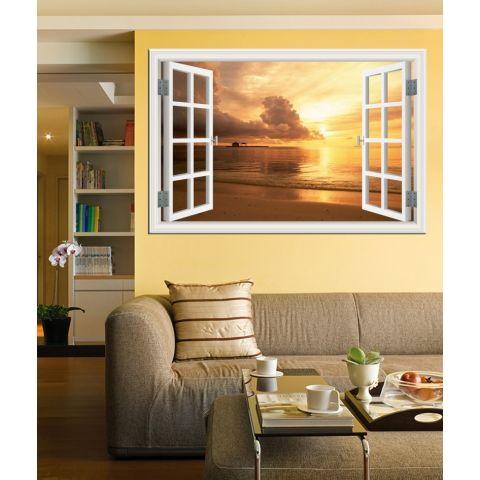 80X120 Cm 3D Sunset Pemandangan Jendela Stiker Tembok Kreatif Kertas Dinding Pemandangan Laut Dekorasi Rumah 1