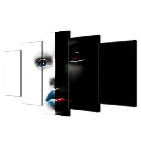 Abstrak Art Wajah Hitam dan Putih Lukisan Di Atas Kanvas 5 Pieces Modern Wall Art Mencetak Gambar untuk Kamar Tidur Dekorasi Dalam Ruangan Tanpa Bingkai-Internasional 3
