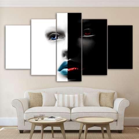 Abstrak Art Wajah Hitam dan Putih Lukisan Di Atas Kanvas 5 Pieces Modern Wall Art Mencetak Gambar untuk Kamar Tidur Dekorasi Dalam Ruangan Tanpa Bingkai-Internasional 1