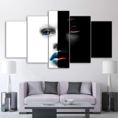Abstrak Art Wajah Hitam dan Putih Lukisan Di Atas Kanvas 5 Pieces Modern Wall Art Mencetak Gambar untuk Kamar Tidur Dekorasi Dalam Ruangan Tanpa Bingkai-Internasional 2