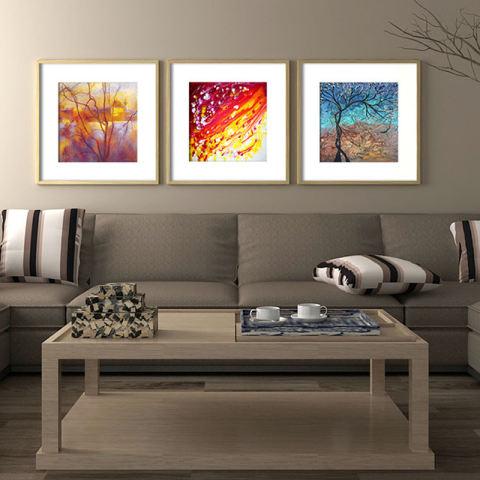 Abstrak Minyak Pohon Lukisan Modern Minimalis Ruang Keluarga Kamar Tidur Lukisan Dekoratif untuk Restoran 3 Pieces HD Gambar Minyak Lukisan Tanpa Bingkai 1