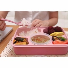 AIUEO Kotak Makan Lunch Box Food Container Set Bento Food Safe Eco Friendly Nagoya Free Sendok - Pink Terbuat Dari Jerami Gandum