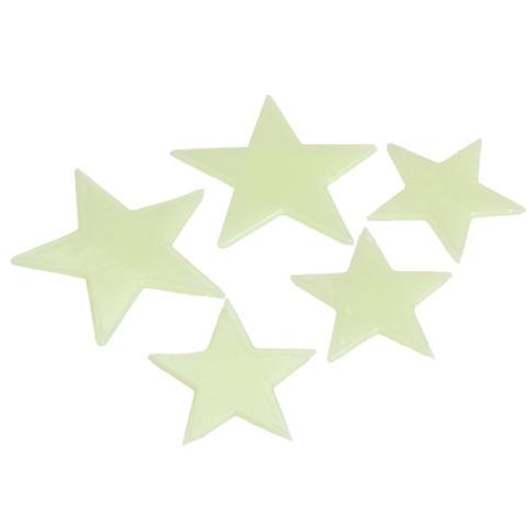 Amart Stiker Dinding Rumah Menghias Dinding Seni Plastik Neon Glow In The Dark (Wajah Tersenyum Bintang)-Intl 4