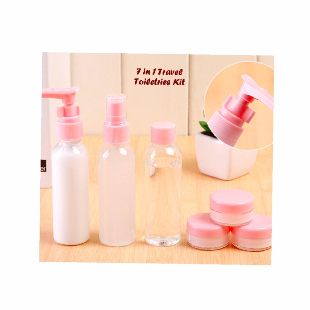 Anabelle 7 in 1 Travel Toiletries Kit Set Botol Kecil Berpergian 1 set isi 7