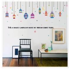 Mimosifolia Arabic lanterns Ruang tamu dapur wallpaper sticker Stiker dinding kamar tidur anak-anak PVC Seni Mural Dekorasi Rumah prasekolah kelas perekat diri dekoratif wallpaper - intl