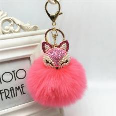 Beautiful Fox Keyring Keychain Pearl Rhinestone Ball Pompom Key Ring Chain Bag Pendant