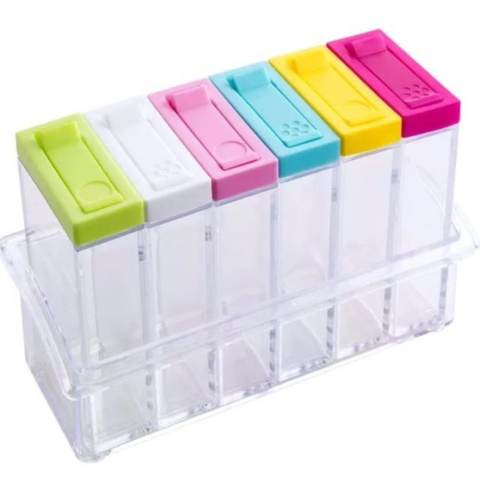 BEST Magic Home 6in1 Rak Tempat Bumbu RA772 Spices Storage (6pcs + 1 Holder )(Multicolor)
