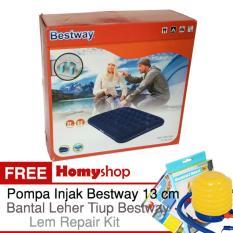BESTWAY 67002 Kasur Angin / Kasur Tiup Ukuran Double [191cm x 137cm x 22cm] Berkualitas Free P Injak Bestway, Bantal Leher Tiup Bestway dan Lem repair kit