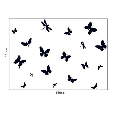 Hitam Stiker Dinding Kupu-kupu Stiker Rumah Kertas Dinding Dekorasi Dapat Dilepas Ruang Makan Tamu Kamar Tidur Dapur Gambar Seni Mural Stiker Kreasi Anak Perempuan Anak Laki-laki Anak-anak Pembibitan Ruang Bermain Bayi Dekorasi PP-AY7076-Intl 1