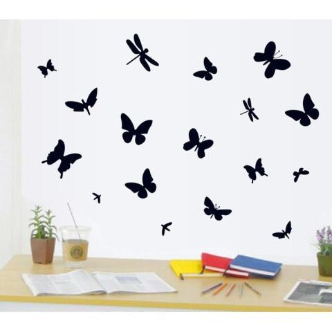 Hitam Stiker Dinding Kupu-kupu Stiker Rumah Kertas Dinding Dekorasi Dapat Dilepas Ruang Makan Tamu Kamar Tidur Dapur Gambar Seni Mural Stiker Kreasi Anak Perempuan Anak Laki-laki Anak-anak Pembibitan Ruang Bermain Bayi Dekorasi PP-AY7076-Intl 4