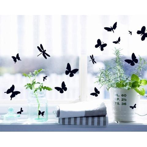 Hitam Stiker Dinding Kupu-kupu Stiker Rumah Kertas Dinding Dekorasi Dapat Dilepas Ruang Makan Tamu Kamar Tidur Dapur Gambar Seni Mural Stiker Kreasi Anak Perempuan Anak Laki-laki Anak-anak Pembibitan Ruang Bermain Bayi Dekorasi PP-AY7076-Intl 2