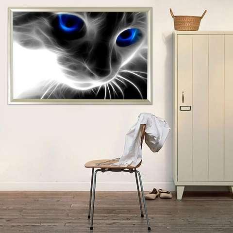 Biru Bermata Kucing 5D Diamond Dibuat Sendiri Lukisan Kerajinan Dekorasi Rumah Kit-Internasional 3