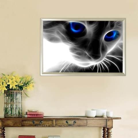 Biru Bermata Kucing 5D Diamond Dibuat Sendiri Lukisan Kerajinan Dekorasi Rumah Kit-Internasional 2