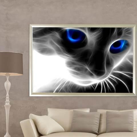 Biru Bermata Kucing 5D Diamond Dibuat Sendiri Lukisan Kerajinan Dekorasi Rumah Kit-Internasional 1