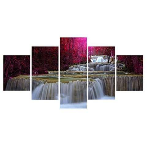 BolehDeals Abstrak Lukisan Cat Minyak Lukisan Kanvas Cetak Gambar Set 5 POHON Di DANAU-Intl 1