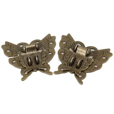 Pola Kupu-kupu Kunci Gesper untuk Antik Set Kabinet 2 (Coklat) 2