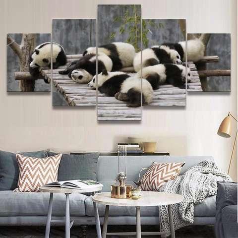 Kanvas Lukisan 5 Panel Tidak Bingkai Panda Sleeping Gambar untuk Kamar Tidur Lukisan Minyak Hewan untuk Rumah Dekor Anak-anak Hadiah internasional 3