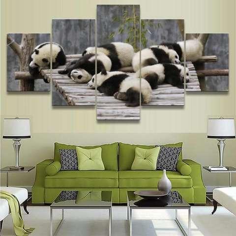 Kanvas Lukisan 5 Panel Tidak Bingkai Panda Sleeping Gambar untuk Kamar Tidur Lukisan Minyak Hewan untuk Rumah Dekor Anak-anak Hadiah internasional 1
