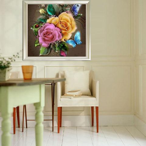Bunga Menawan 5D Diamond Diseduh Sendiri Lukisan Kerajinan Dekorasi Rumah-Internasional 3