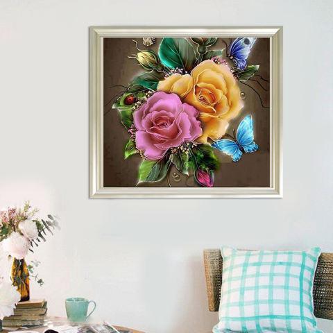 Bunga Menawan 5D Diamond Diseduh Sendiri Lukisan Kerajinan Dekorasi Rumah-Internasional 1