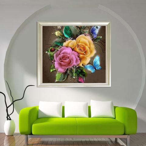 Bunga Menawan 5D Diamond Diseduh Sendiri Lukisan Kerajinan Dekorasi Rumah-Internasional 2