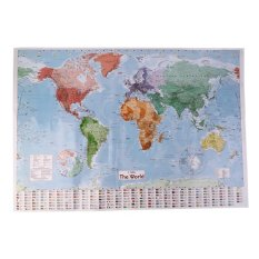 CHEER Multicolor 97.5X67.5 Besar Dunia Peta Terjemahan Bahasa Perancis Wall Chart Pengajaran Poster-Intl