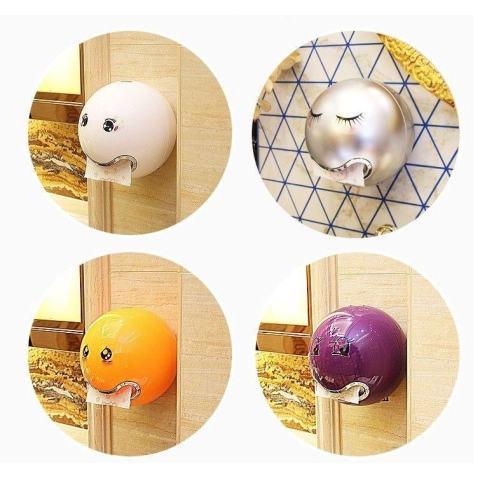 Hadiah Yang Disayangi Hot Sale Kamar Mandi Toilet Waterproof Cute Emoji Roll Paper Holder Kotak Kertas Toilet (screw Tetap) Bagus Berbentuk Bola-Hitam Satu Ukuran-Intl 2