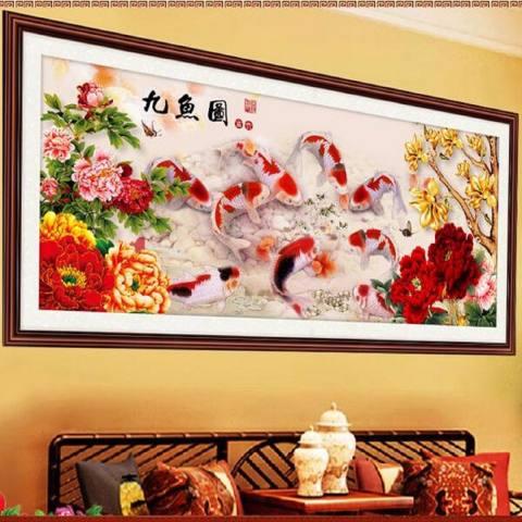 Cina Diamond Bordir 5D Lukisan 9 Fish Cross Stitch Hiasan Dinding Dekorasi DIY 2