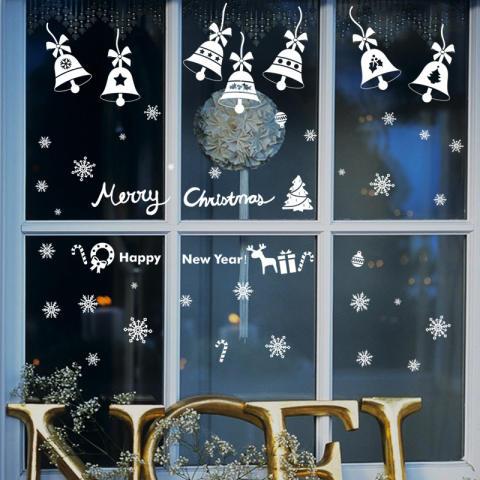 Natal Bells Ruang Tamu Kelas Hiasan Jendela Latar Belakang Removable Wall Stiker 2