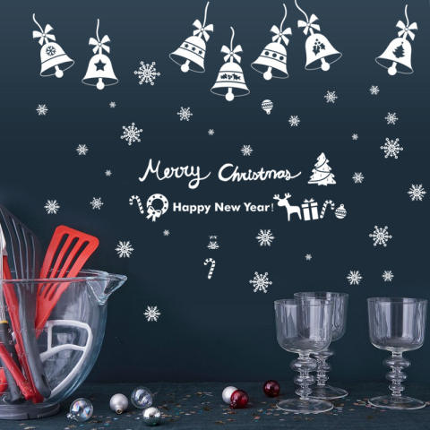 Natal Bells Ruang Tamu Kelas Hiasan Jendela Latar Belakang Removable Wall Stiker 3