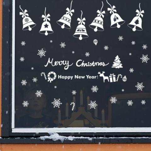 Hari Natal Bells Ruang Kelas Hiasan Jendela Backgroundremovable Dinding Stiker-Internasional 1