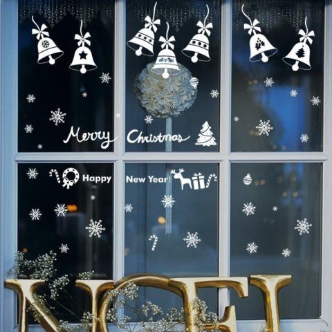 Natal Bells Ruang Tamu Kelas Hiasan Jendela BackgroundRemovable Stiker Dinding-Internasional 2