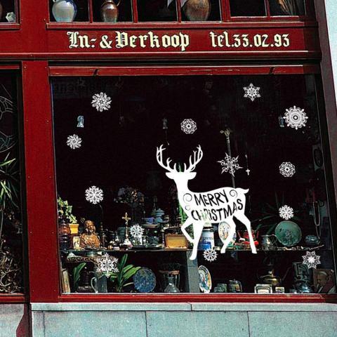 Ruang Tamu Natal Natal Manusia Salju Santa Klaus Elk Stiker Tembok Hiasan Jendela-Intl 1