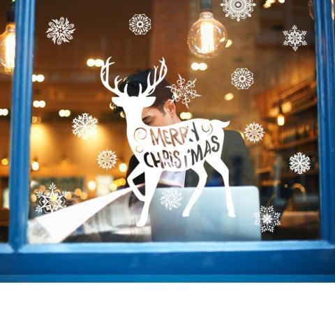 Ruang Tamu Natal Natal Manusia Salju Santa Klaus Elk Stiker Tembok Hiasan Jendela-Intl 2