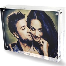 Clear Acrylic 6x8 Magnetic Bingkai Foto, Love Double Sided Bingkai Foto Magnetik, Home Office Table Plexiglass Gambar Display Stand Holder untuk Sahabat Terbaik Anak-anak Grandpa Pernikahan-Intl