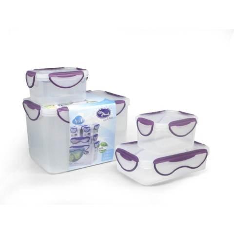 Clip Fresh Classic Box Set 4pcs - Transparan/Lid Violet
