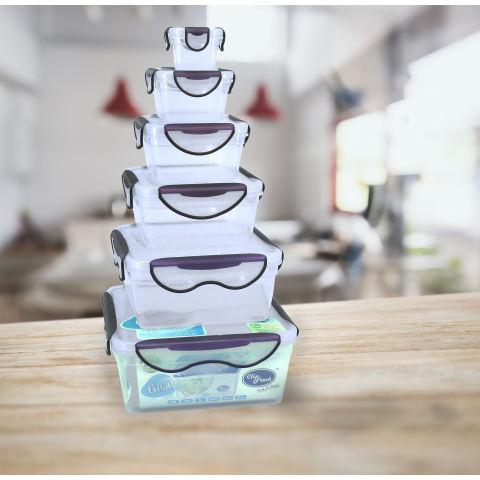 Clip Fresh Classic Box Set 6 buah - Transparan/Lid Violet