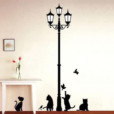 Cocotina Hitam Mainan Kucing Di Bawah Lampu Jalan Pola Hiasan Dinding DIY Stiker Kelas Stiker Dinding Ruangan Anak-anak Yang Dapat Dilepas 3