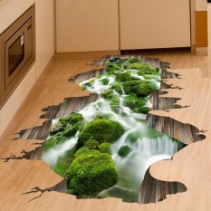 Creative 3D Green Stream Wall Stickers Floor Living Room Bathroom TV Wallpaper Decorative PVC Sticker 50*70cm - intl