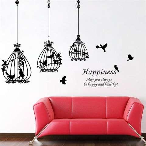 Burung Kreatif Cages Kebahagiaan Hiasan Dekorasi Rumah Huruf Ruang Tamu Wallpaper Decals Kamar Tidur Stiker Dinding Mural Art Posters-Intl 3