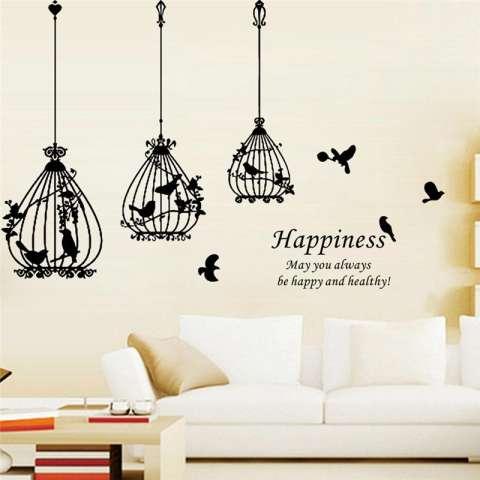 Burung Kreatif Cages Kebahagiaan Hiasan Dekorasi Rumah Huruf Ruang Tamu Wallpaper Decals Kamar Tidur Stiker Dinding Mural Art Posters-Intl 1